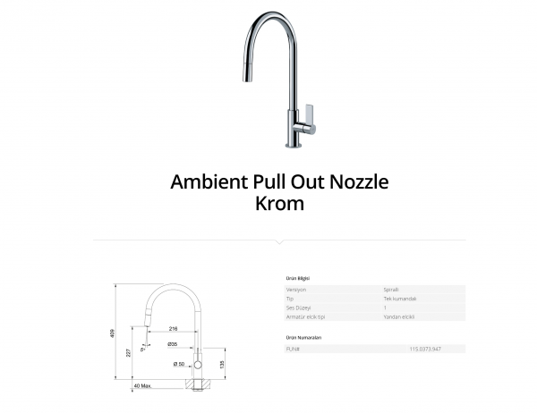 Franke Ambient Pull Out Nozzle Krom