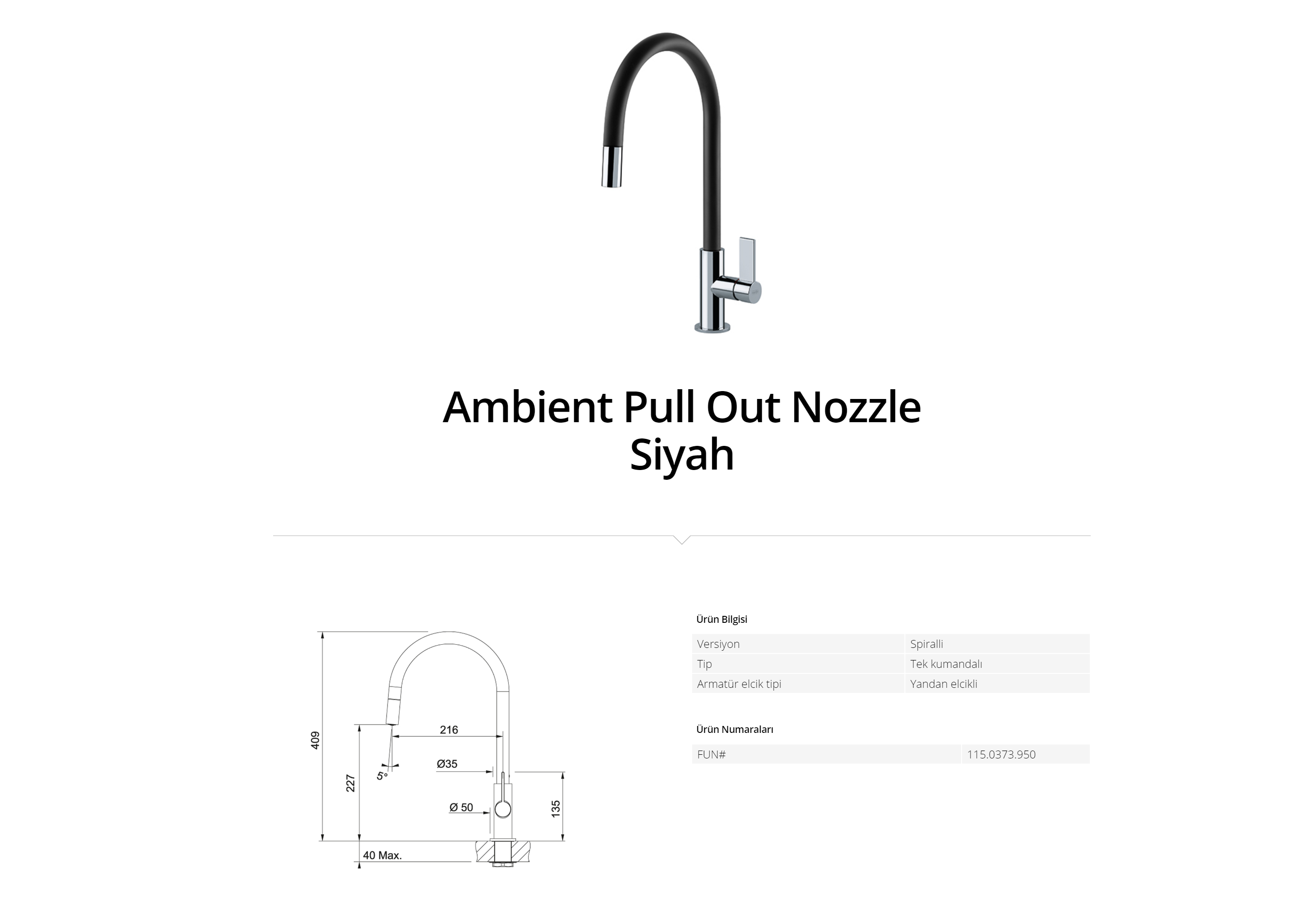 Franke Ambient Pull Out Nozzle Siyah