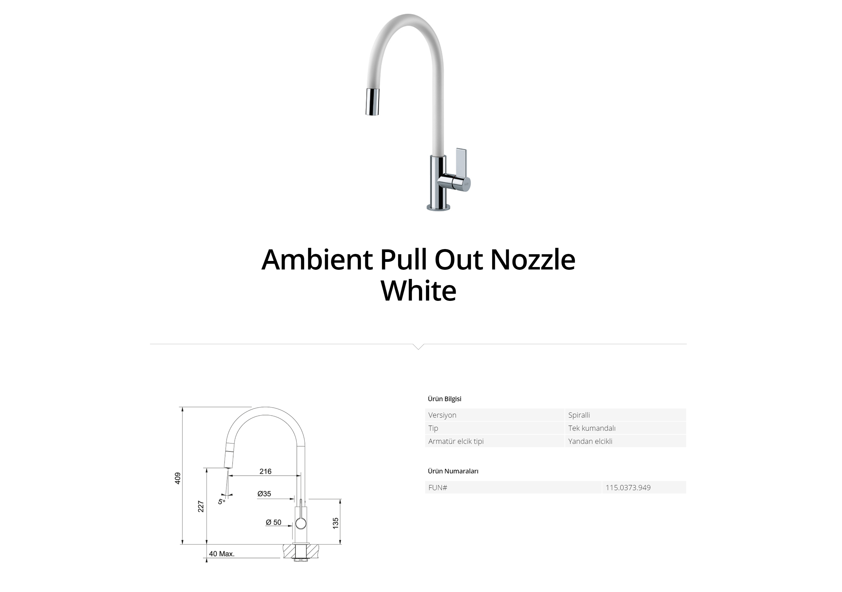 Franke Ambient Pull Out Nozzle White