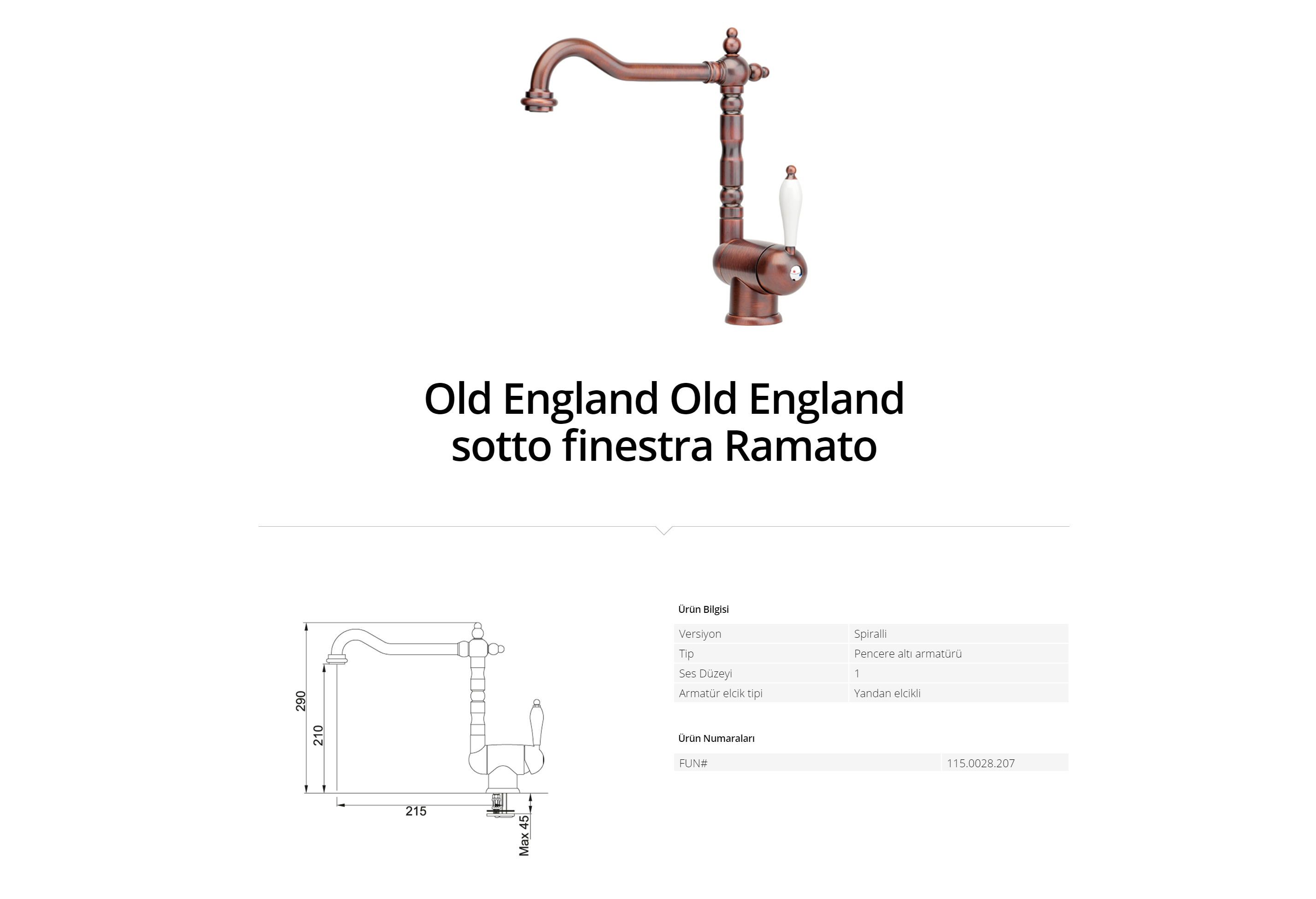 Franke Old England sotto finestra Ramato