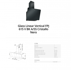 Franke Glass Linear Vertical FPJ 615 V BK A SS Cristallo Nero