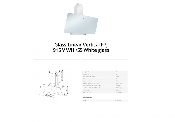 Franke Glass Linear Vertical FPJ 915 V WH SS White glass